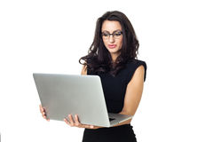 Onderneemster met laptop Stock Foto