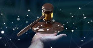 Onderneemster met rechtvaardigheidshamer het 3D teruggeven Royalty-vrije Stock Foto's