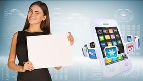 Onderneemster met smartphones en kleurrijke apps Royalty-vrije Stock Foto's