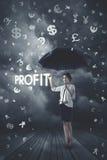 Onderneemster onder geldregen Royalty-vrije Stock Afbeelding