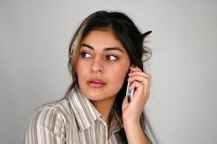 Onderneemster op cellphone-8 stock foto