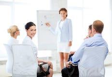 Onderneemster op commerciële vergadering in bureau Stock Afbeelding