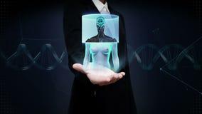 Onderneemster open palm, Aftastende Hersenen in vrouwelijk lichaam x-ray mening stock videobeelden