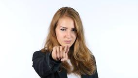 Onderneemster Pointing At Camera, die u, Portret, Witte backgrou selecteren royalty-vrije stock afbeelding