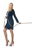 Onderneemster in touwtrekwedstrijd Stock Foto's