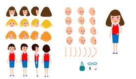 Onderneemster voor animatie, aannemer Vrouwen` s haar, hand, benen Vectorelementen voor animatie vector illustratie