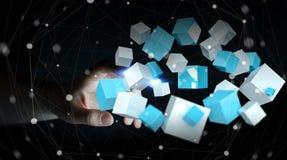 Onderneemster wat betreft het vliegen het blauwe glanzende kubus 3D teruggeven Royalty-vrije Stock Foto