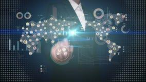 Onderneemster wat betreft verbonden mensen, die communicatietechnologie gebruiken met economisch diagram, grafiek Sociale Media stock video