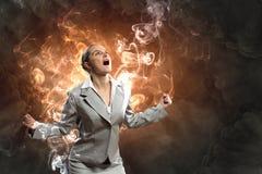 Onderneemster in woede stock afbeelding