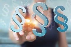 Onderneemsterholding en wat betreft 3D het teruggeven wetssymbool Stock Foto