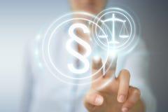 Onderneemsterholding en wat betreft 3D het teruggeven wetssymbool Stock Fotografie