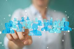 Onderneemsterholding en wat betreft 3D teruggevende groep blauwe pe Royalty-vrije Stock Foto