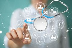 Onderneemsterholding en wat betreft drijvende stethoscoop 3D rende Royalty-vrije Stock Afbeelding