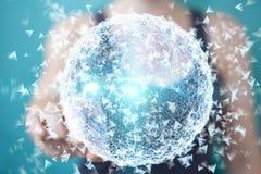 Onderneemsterholding en wat betreft het vliegen 3D netwerkverbinding Royalty-vrije Stock Foto