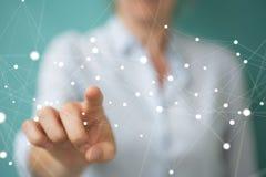 Onderneemsterholding en wat betreft het vliegen 3D netwerkverbinding Royalty-vrije Stock Afbeelding