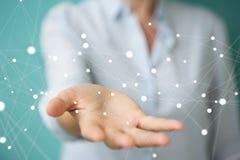 Onderneemsterholding en wat betreft het vliegen 3D netwerkverbinding Royalty-vrije Stock Afbeeldingen