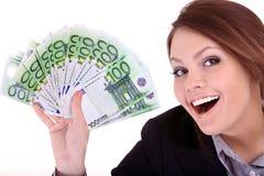 Onderneemsters met groep geld. Stock Foto