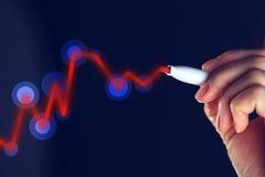 Onderneemstertekening het toenemen grafiek voor positieve bedrijfsresultaten Royalty-vrije Stock Foto's