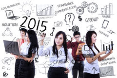 Ondernemers die idee voor resoluties vinden Stock Fotografie