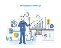 Ondernemersstrategie Ontwikkeling van bedrijfsprocessen en technologieën, startprojecten royalty-vrije illustratie