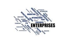 ONDERNEMINGEN - woordwolk wordcloud - termijnen van het globalisering, economie en beleidsmilieu stock illustratie