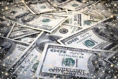 Onderstel van de achtergrond van honderd dollarsbankbiljetten Royalty-vrije Stock Afbeeldingen