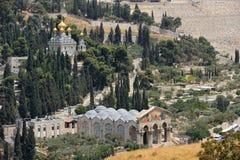 Onderstel van Olijven, mening van de muren van Jeruzalem. Royalty-vrije Stock Foto
