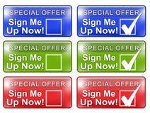 Onderteken me omhoog Grafische het Omvergooien van de Webknoop w Stock Foto's