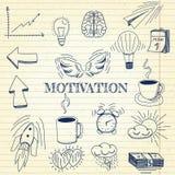 Ondertekenen de hand getrokken vectorillustratiereeks van motivatie en de zaken en de elementen van symboolkrabbels, notitieboekj Royalty-vrije Stock Afbeeldingen