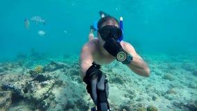 Onderwater brede hoek selfie van spierzwemmer met vissen stock video