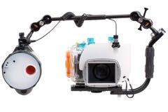 Onderwater camera met stroboscoop stock foto