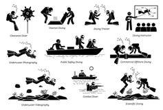 Onderwater het duiken banen voor professionele duikers vector illustratie