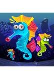 Onderwater illustratie die van seahorse zwemmen Royalty-vrije Stock Fotografie