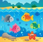 Onderwater oceaanfaunathema 2 Stock Foto