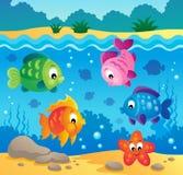 Onderwater oceaanfaunathema 3 Stock Afbeeldingen