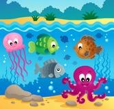 Onderwater oceaanfaunathema 1 Royalty-vrije Stock Foto
