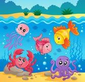 Onderwater oceaanfaunathema 5 Stock Foto's