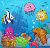 Onderwater oceaanfaunathema 8 Stock Foto