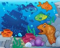 Onderwater oceaanfaunathema 9 Stock Foto