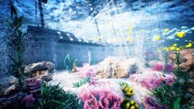 Onderwater oceaangolven en piraatschip royalty-vrije illustratie