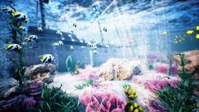 Onderwater oceaangolvenrimpeling en piraatschip stock videobeelden