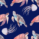 Onderwater overzees patroon Zeeschildpadden en kwallen Oceaanvector Stock Afbeeldingen