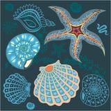 Onderwater paradijs blauw patroon Stock Foto