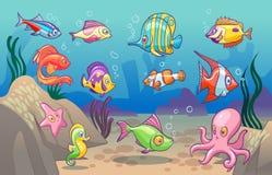 Onderwater scène Leuke overzeese tropische vissen oceaan onderwaterdieren Onderzeese bodem met de jonge geitjesconcept van korale vector illustratie