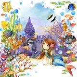 Onderwater wereld Meermin en vissenkoraalrif waterverfillustratie voor kinderen stock illustratie
