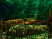 Onderwaterachtergrond in groene kleuren stock illustratie