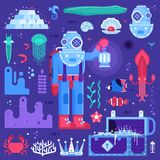 Onderwateravontureninzameling Royalty-vrije Stock Afbeelding