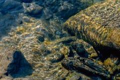 Onderwaterbezinning van zand, stenen en rotsen Royalty-vrije Stock Fotografie