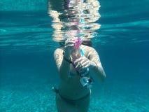 Onderwatereiland Evvoia een plaats aan reis daar Stock Fotografie