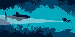 Onderwaterhol, scuba-duiker, haai, koraal, vissen, overzees royalty-vrije illustratie